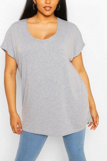 Grey Plus Oversized T-Shirt