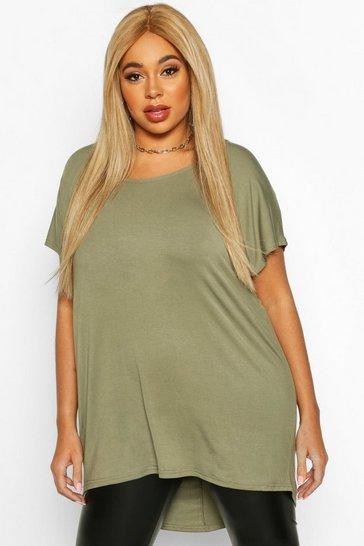 Khaki Green Plus Oversized T-Shirt