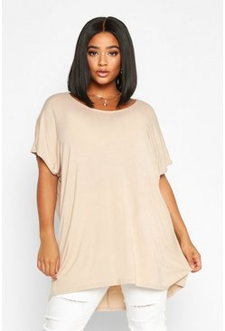 Stone beige Plus Oversized T-Shirt