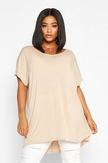 Stone beige Beige Plus Oversized T-Shirt