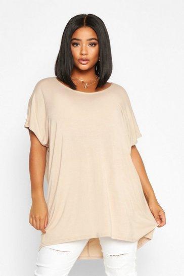 Stone beige Beige Plus Oversized T-Shirt