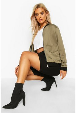 Khaki Plus Pocket Front Contrast Lined Bomber Jacket