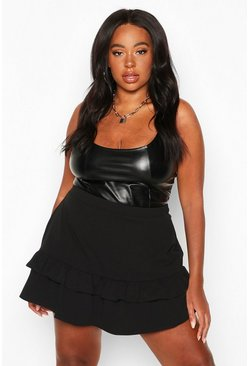Black Plus Ruffle Hem Skort