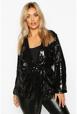 Black Plus Belted Wrap Sequin Jacket