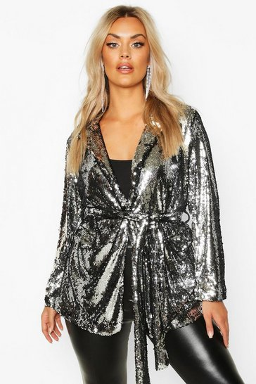 Silver Plus Belted Wrap Sequin Jacket