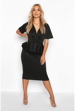 Black Plus Wrap Front Peplum Midi Dress