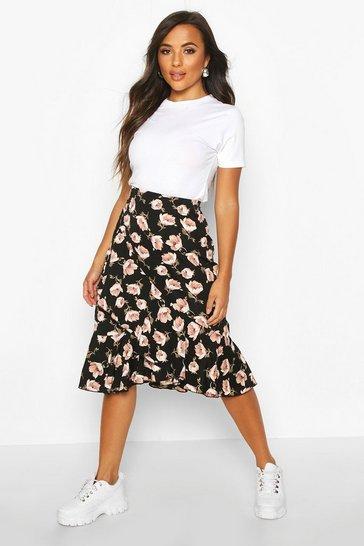 Black Petite Floral Print Ruffle Midi Skirt