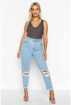 Mid wash blue Plus Ripped High Rise Boyfriend Jean