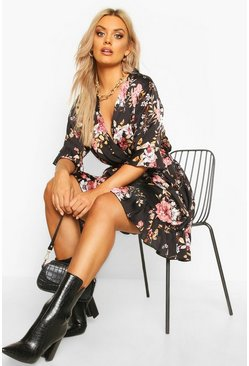 Black Plus Floral Satin Ruffle Wrap Dress