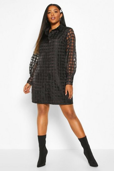 Black Plus Organza Check Shirt Dress