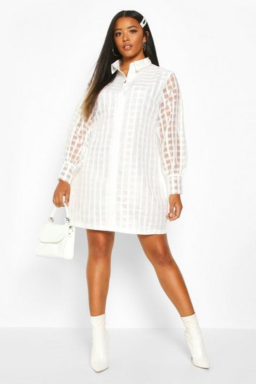 Ivory white Plus Organza Check Shirt Dress