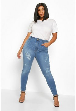 Mid blue blue Plus High Waisted All Over Ripped Skinny Jean