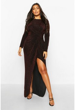 Black Plus Glitter Twist Split Maxi Dress