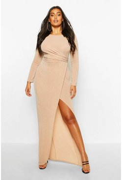 Stone beige Plus Glitter Twist Split Maxi Dress