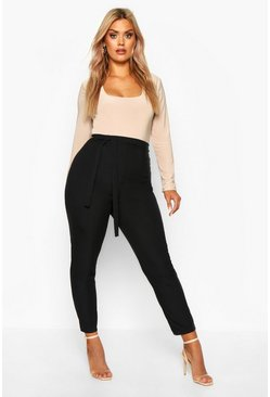Black Plus Ribbed High Waist Tie Waist Tapered Pants