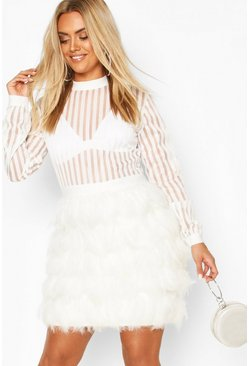 White Plus Feather Look Stripe Mesh Midi Dress