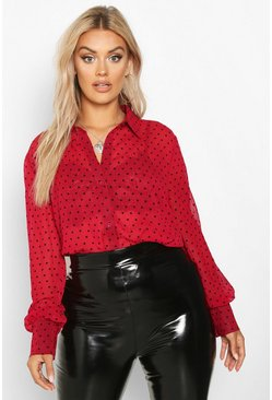 Wine red Plus Heart Print Mesh Oversized Shirt