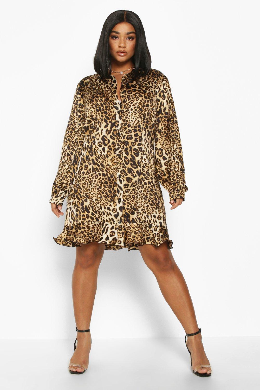Plus Leopard Print Ruffle Hem Shirt Dress 8