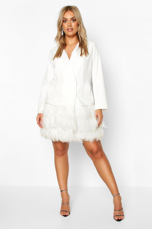 Plus Feather Detail Blazer Dress 8