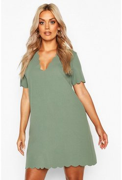 Khaki Plus Scallop Edge V Neck Shift Dress