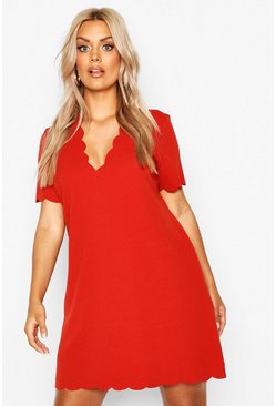 Terracotta orange Plus Scallop Edge V Neck Shift Dress