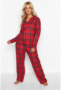 Red Plus Brushed Check Long Sleeve Pj Pants Set