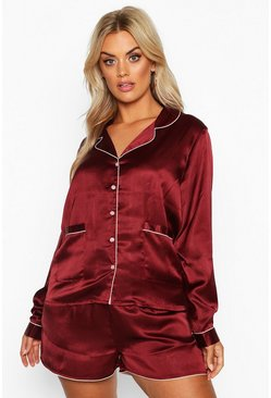 Plum purple Plus Satin Button Through Long Sleeve Short Set