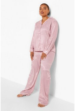 Blush pink Plus Satin Stripe Long Sleeve Trouser PJ Set