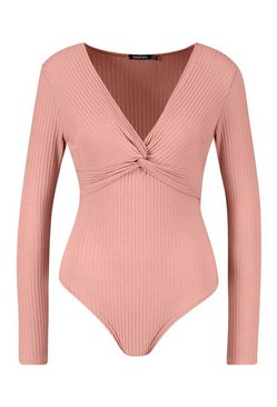 Rose Petite Ribbed Twist Front Bodysuit