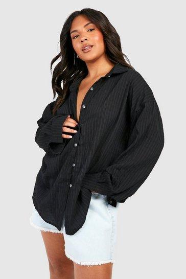 Black Plus Shirred Oversized Shirt