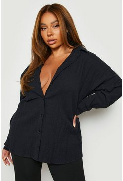 Zwart black Plus Oversized Geplooide Blouse