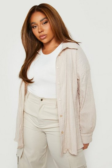 Camel beige Beige Plus Shirred Oversized Shirt