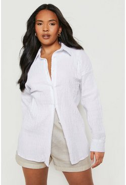 White Plus Shirred Oversized Shirt