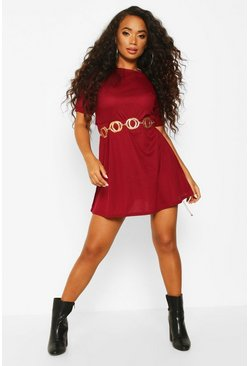 Orange Petite Knitted Rib Turn Up Sleeve Smock Dress