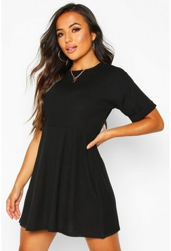 Black Petite Knitted Rib Turn Up Sleeve Smock Dress