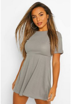 Grey marl grey Petite Knitted Rib Turn Up Sleeve Smock Dress