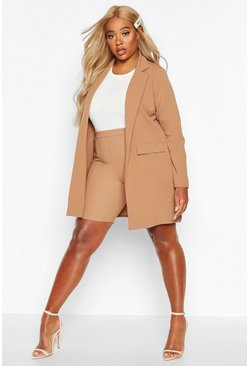 Camel beige Plus Pocket Detail Boyfriend Blazer