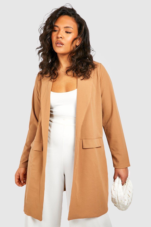 Plus Size Coats & Jackets Plus Pocket Detail Boyfriend Blazer
