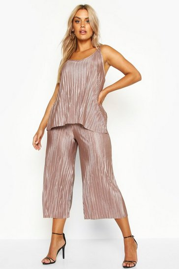 Stone beige Plus plisse Swing Cami and Culottes Co-Ord