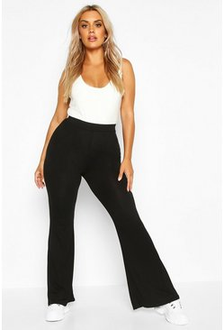 Black Plus Basic Jersey Flare Trouser