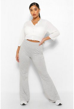 Grey Plus Basic Jersey Flare Trouser