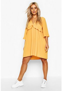 Mustard yellow Plus Ruffle Plunge Woven Shift Dress
