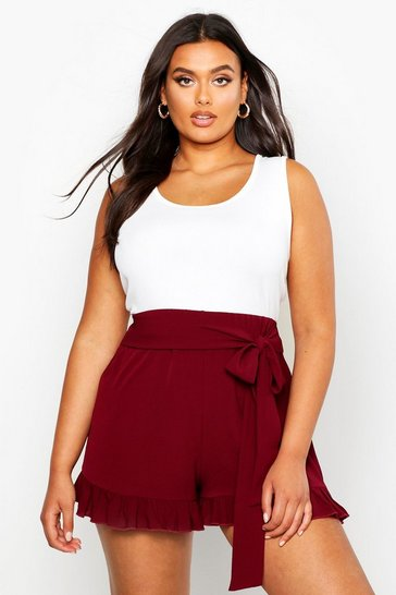 Berry red Plus Frill Tie Front Woven Flippy Shorts