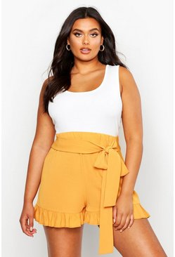 Mustard yellow Plus Frill Tie Front Woven Flippy Shorts