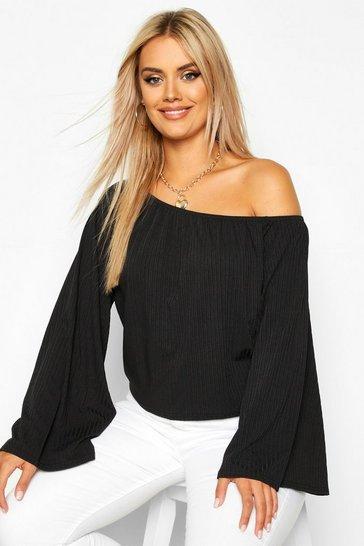 Black Plus Oversized Rib Crop Sweater
