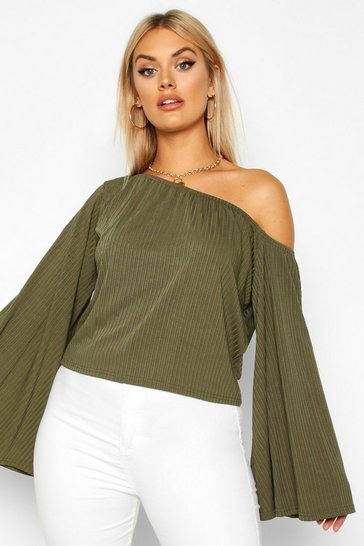 Khaki Plus Oversized Rib Crop Sweater