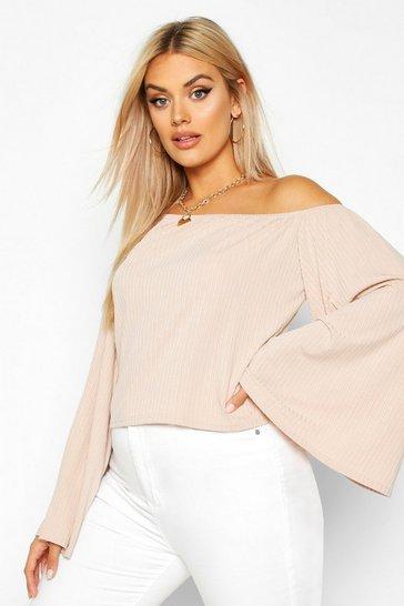 Stone beige Plus Oversized Rib Crop Sweater