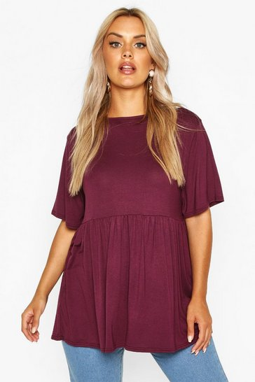 Berry Plus Jersey Frill Hem Smock Top