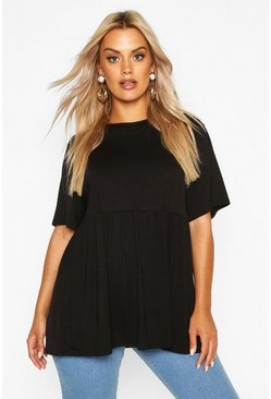 Black Plus Jersey Frill Hem Smock Top