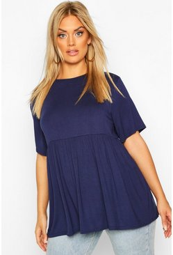 Navy Plus Jersey Frill Hem Smock Top